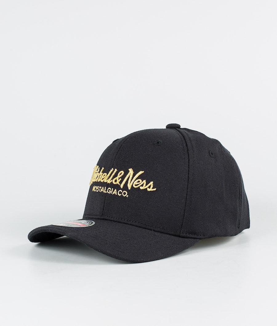 Mitchell and Ness Pinscript Snapback Caps Black/Gold