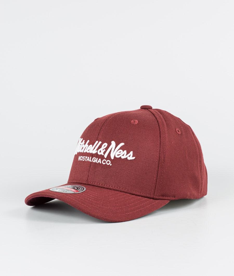 Mitchell and Ness Pinscript Snapback Caps Dark Red/White