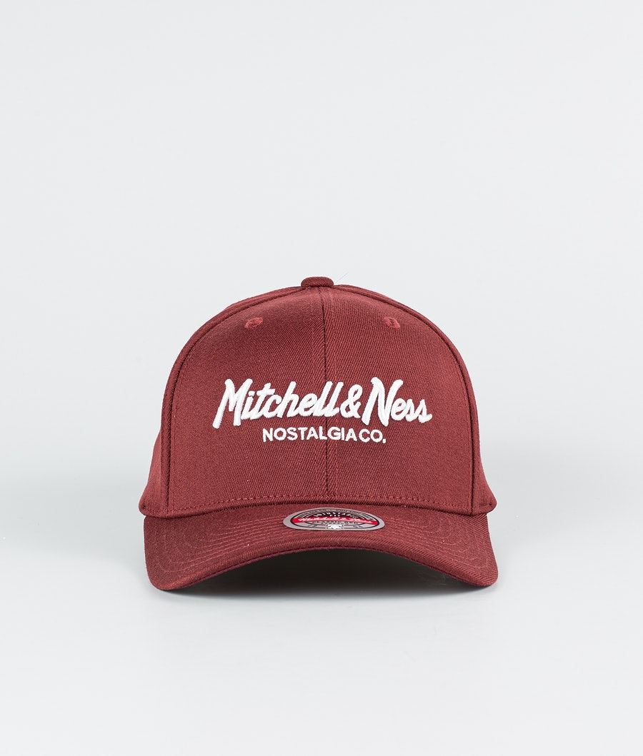 Mitchell and Ness Pinscript Snapback Cap Dark Red/White