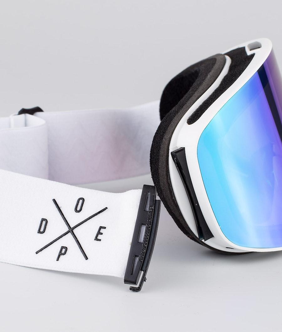 Dope Flush 2X-UP Ski Goggle White W/White Green Mirror