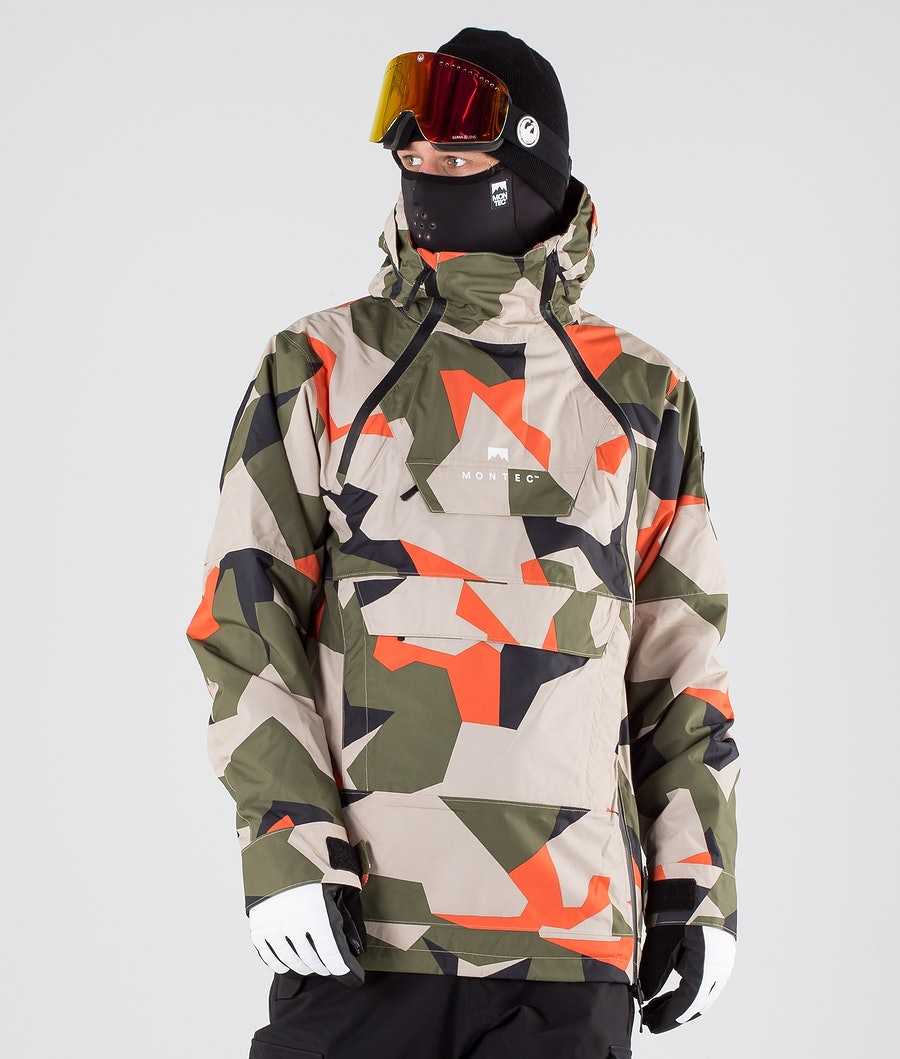 Montec Doom Ski Jacket Orange Green Camo