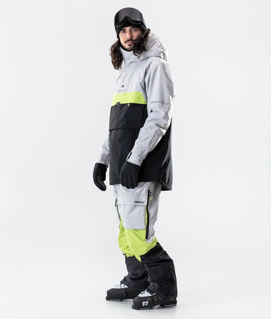 Montec Dune Ski Jacket Light Grey/Neon Yellow/Black
