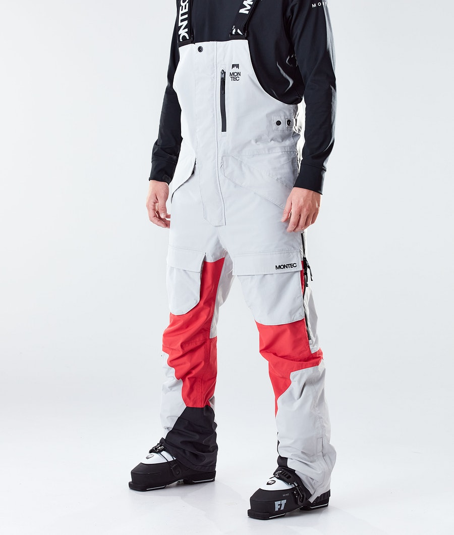 Montec Fawk Ski Pants Light Grey/Red Ski Pants Light Grey/Red