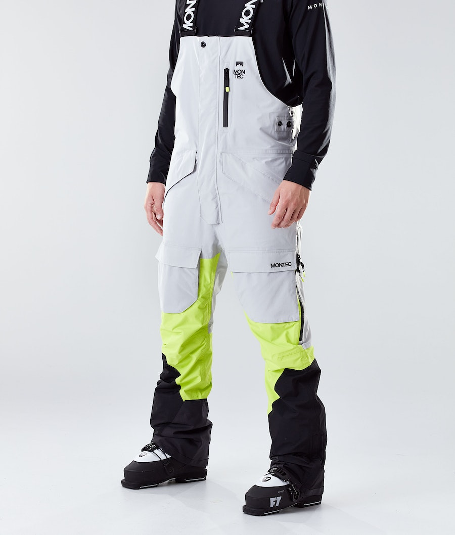 Fawk Ski Pants Men Light Grey/Neon Yellow/Black