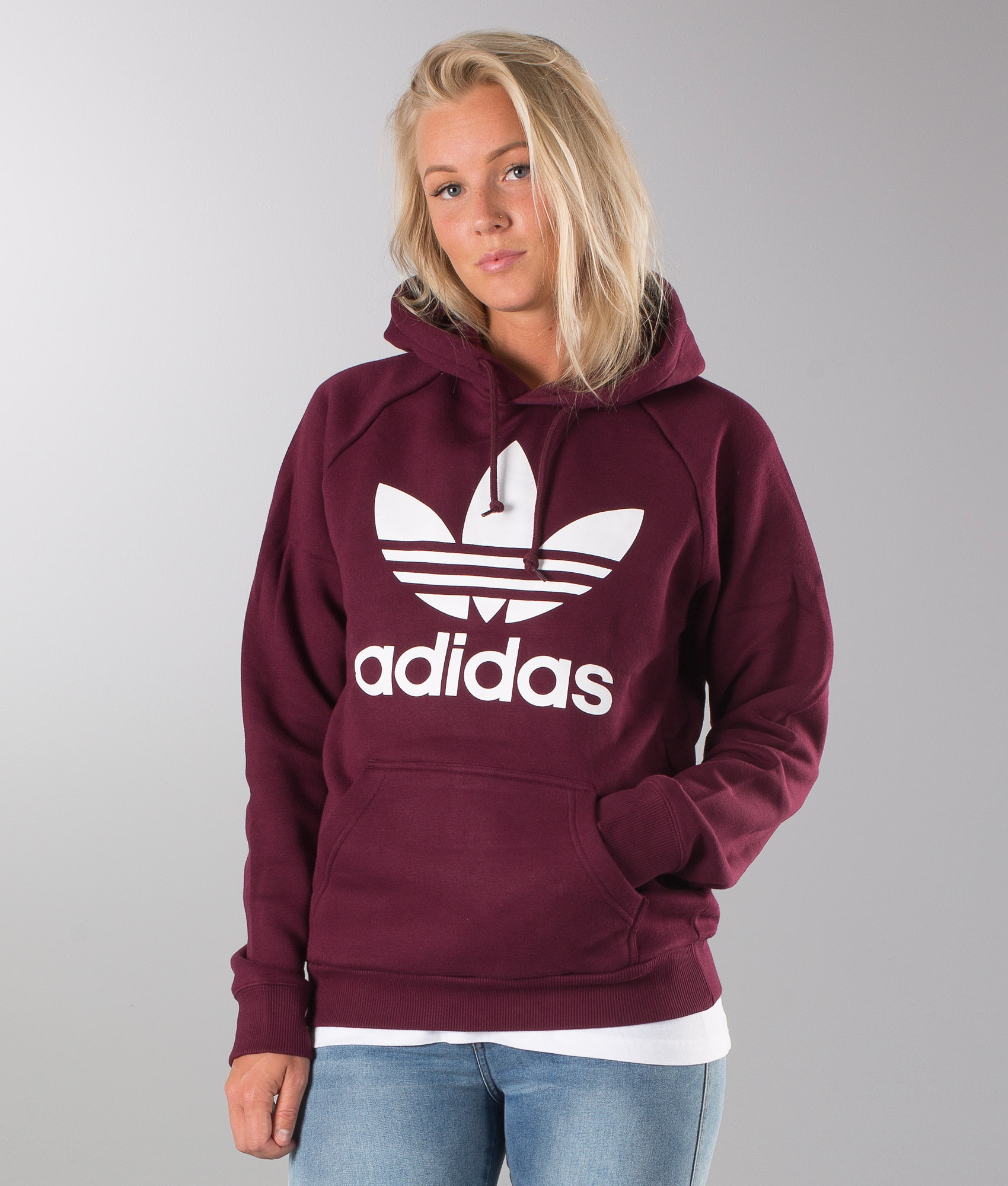 Adidas Originals Trefoil Unisex Huppari Maroon - Ridestore.fi f4fbcd2641
