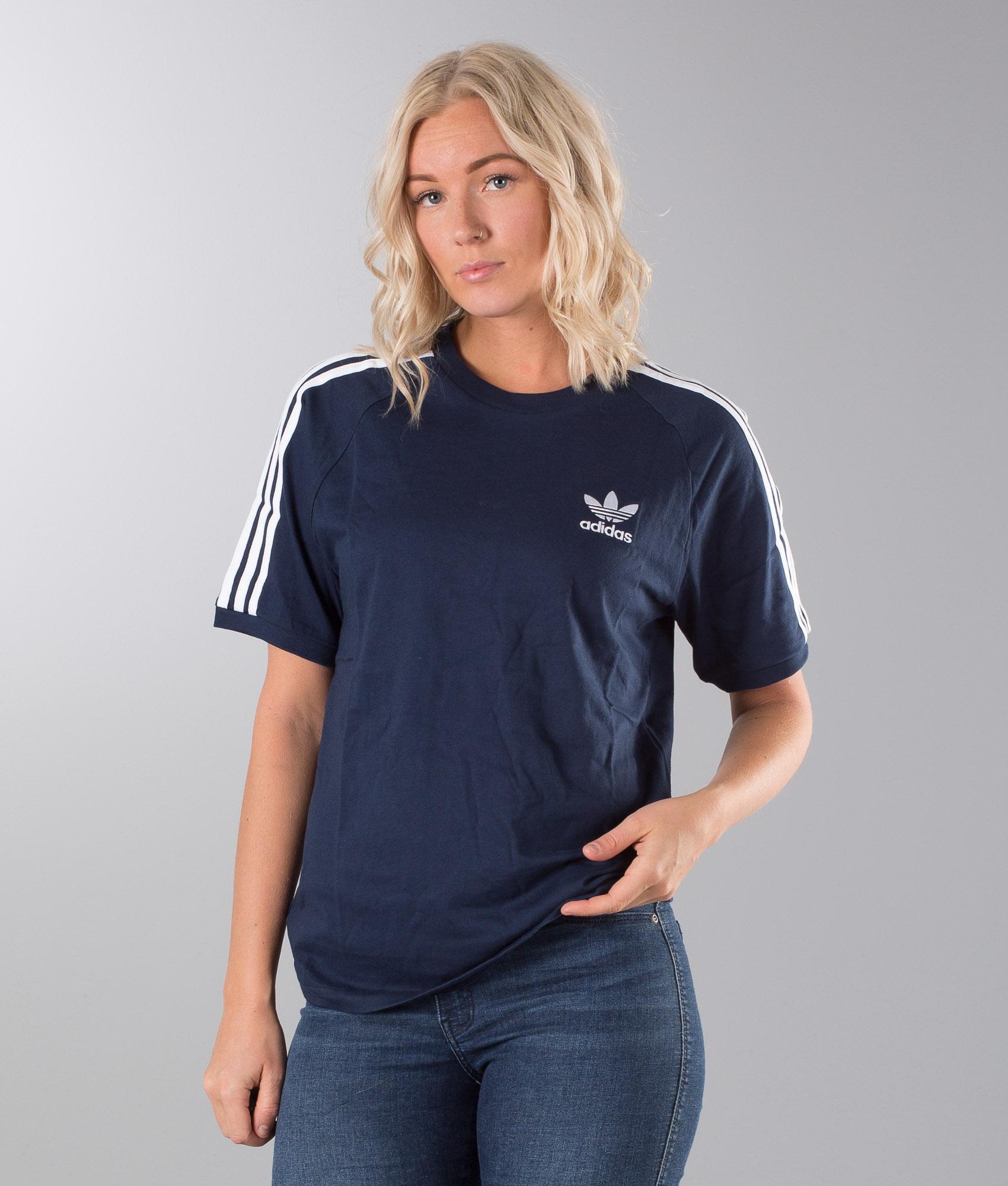 Adidas Originals 3 Stripes Unisex T shirt Collegiate Navy