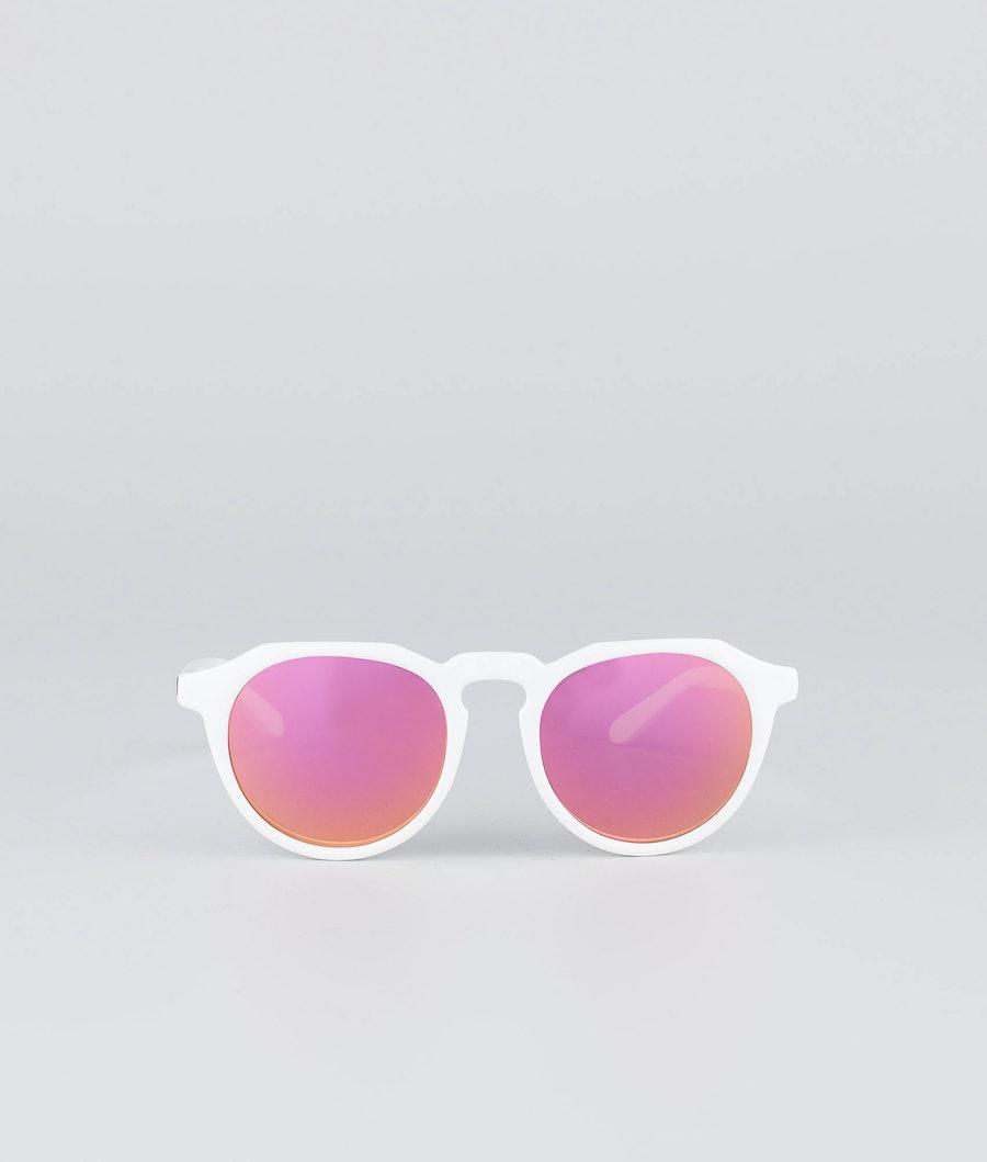 Dope Oldskool III Sunglasses Glossy White w/Pink Mirror