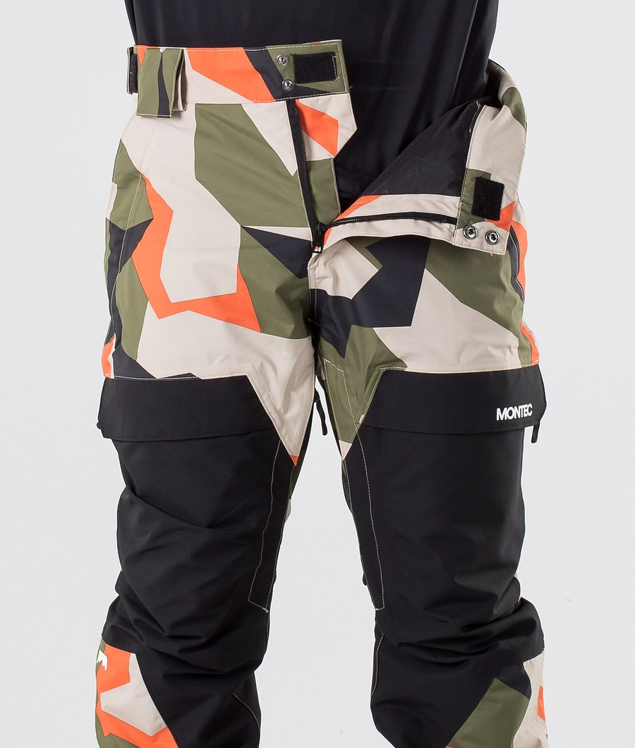 Montec Dune Snowboard Pants Orange Green Camo