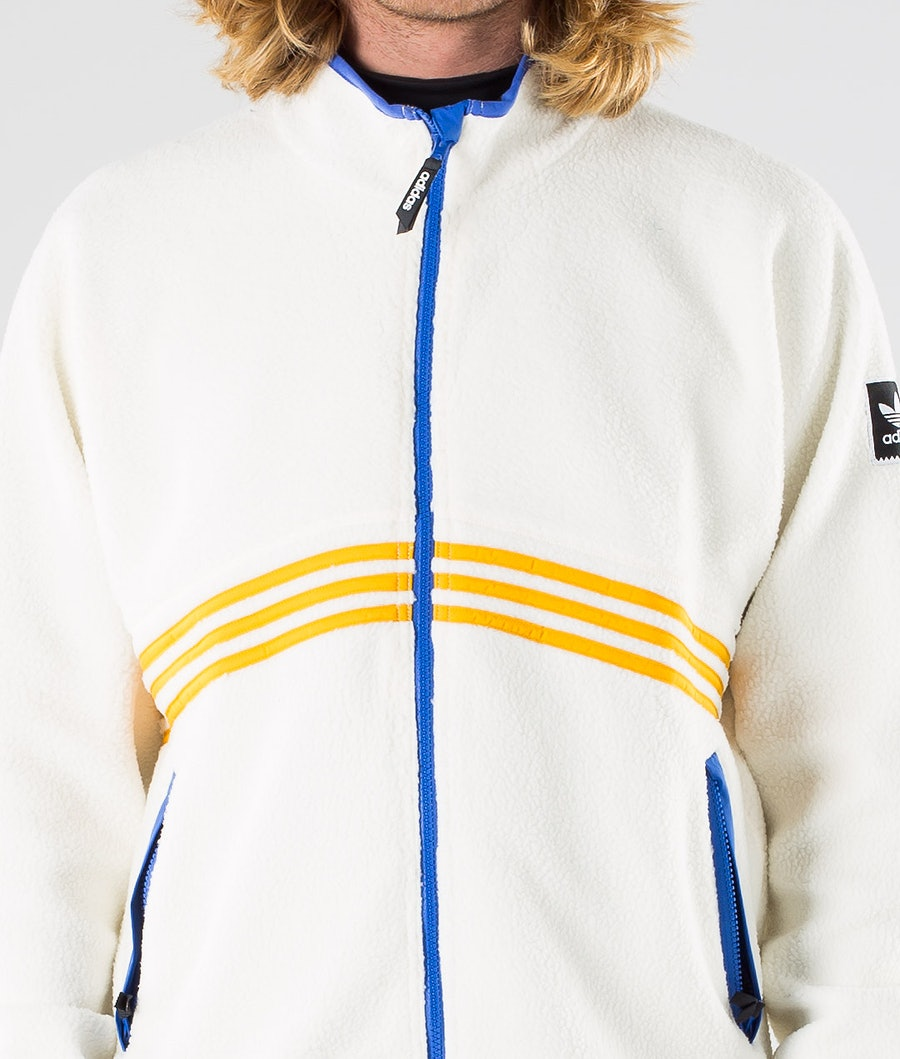 Adidas Skateboarding Sherpa Full Zip Jacket Cream White/Collegiate Orange/Hi-Res Blue S18/Carbon