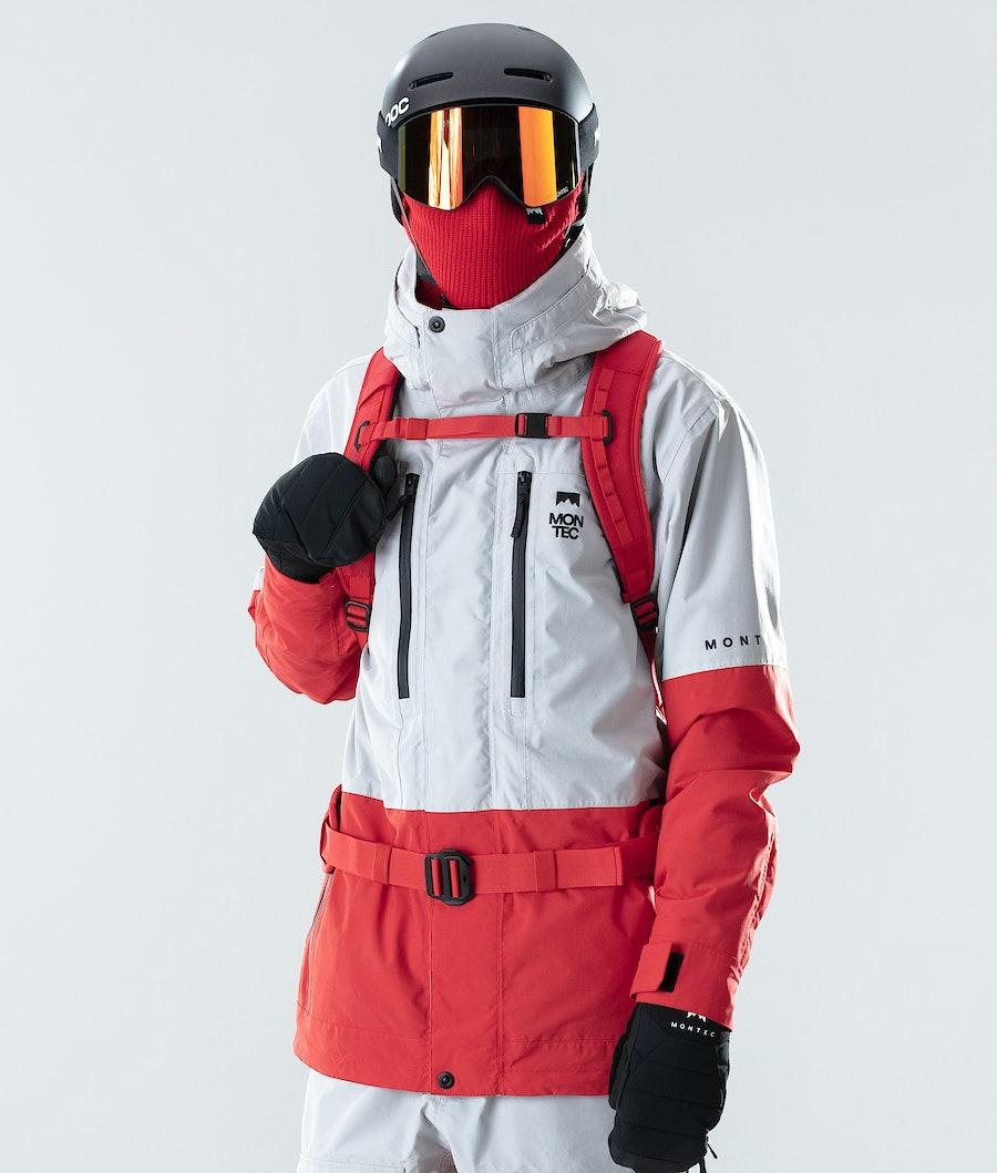 Fawk Ski Jacket Men Light Grey/Red