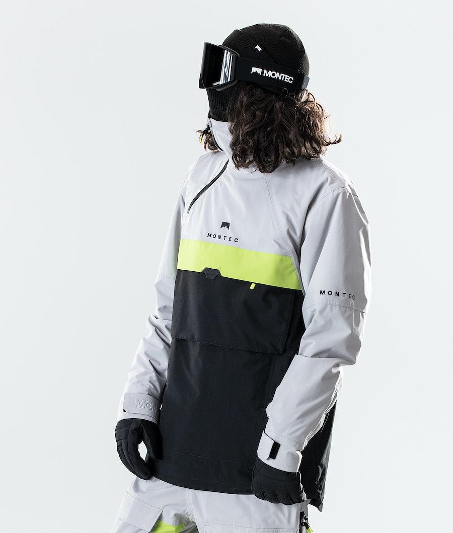 Dune Ski Jacket Men Light Grey/Neon Yellow/Black