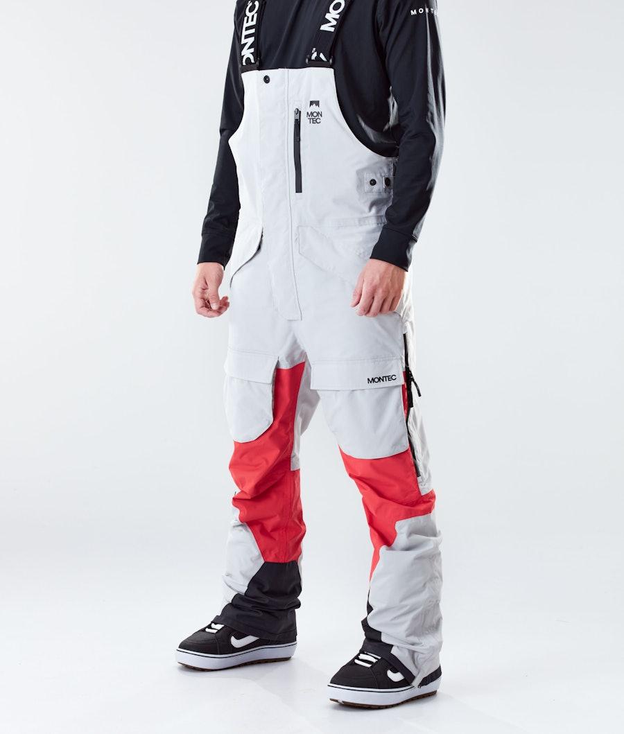 Montec Fawk Pantaloni Snowboard Light Grey/Red