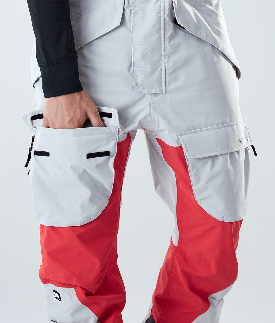 Montec Fawk Snowboard Pants Light Grey/Red