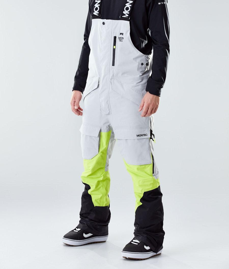 Fawk Ski Pants Men Light Grey/Neon Yellow/Black