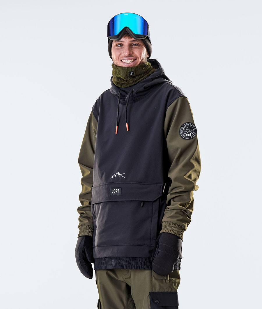 Wylie Patch Snowboard Jacket Men Black/Olive Green