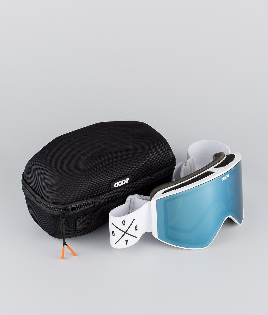 Dope Sight Medium Ski Goggle White W/White Blue Mirror