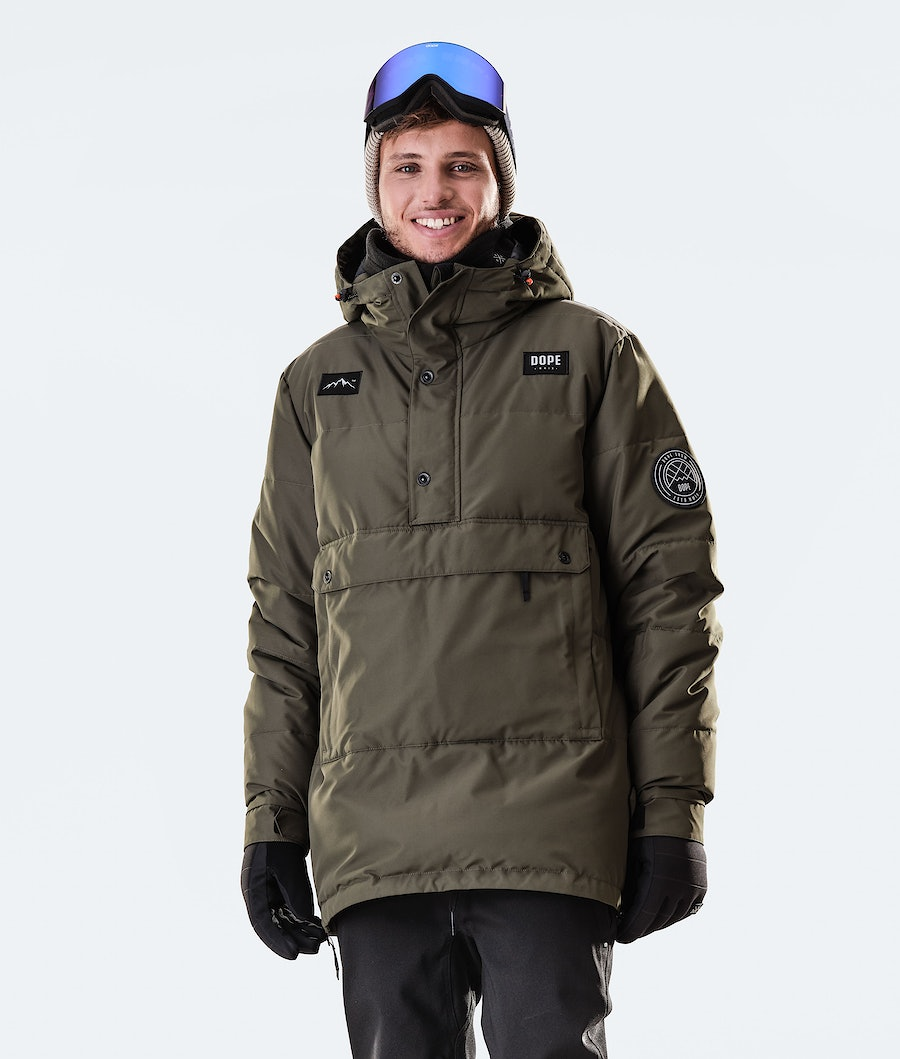 Puffer Snowboard Jacket Men Olive Green