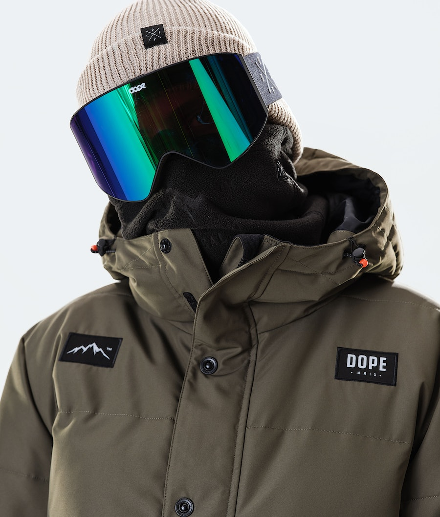 Dope Puffer Snowboard Jacket Olive Green