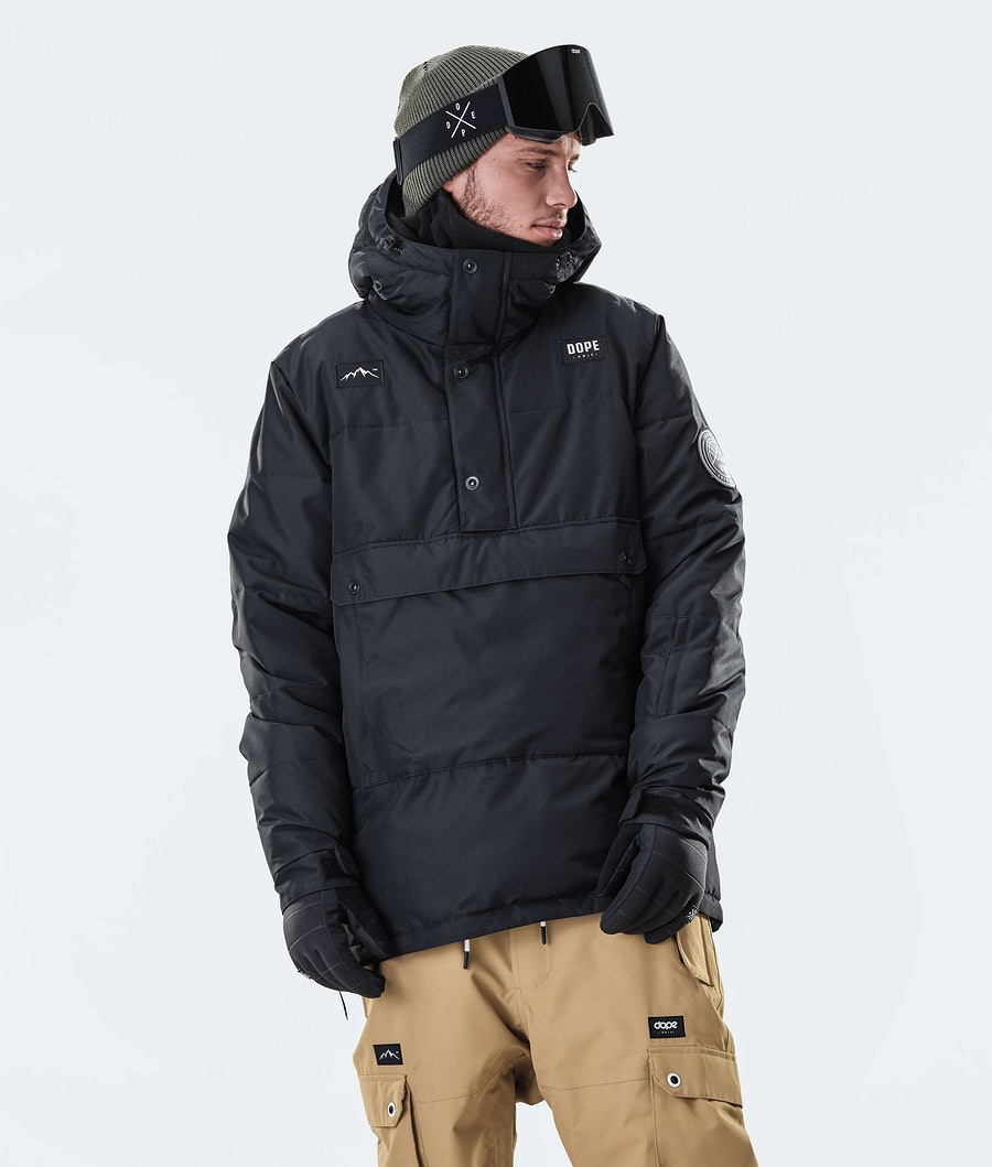 Puffer Snowboard Jacket Men Black