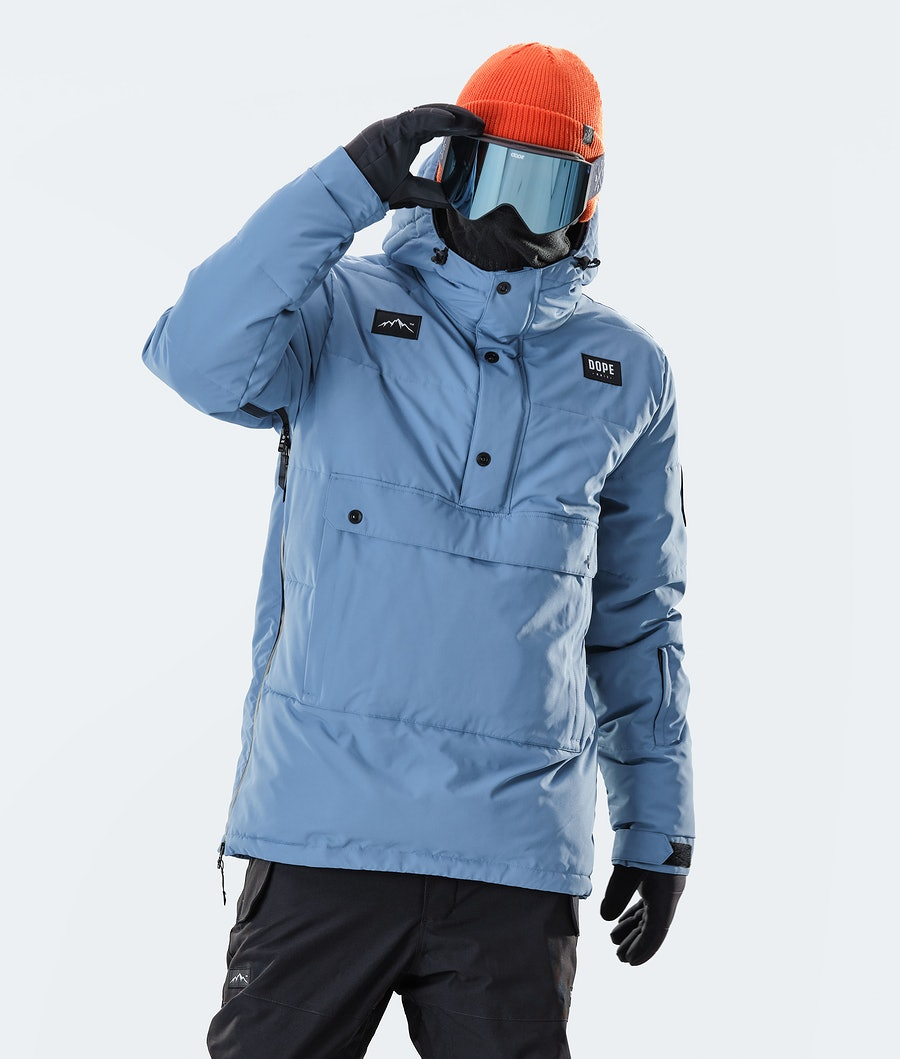 Puffer Snowboard Jacket Men Blue Steel