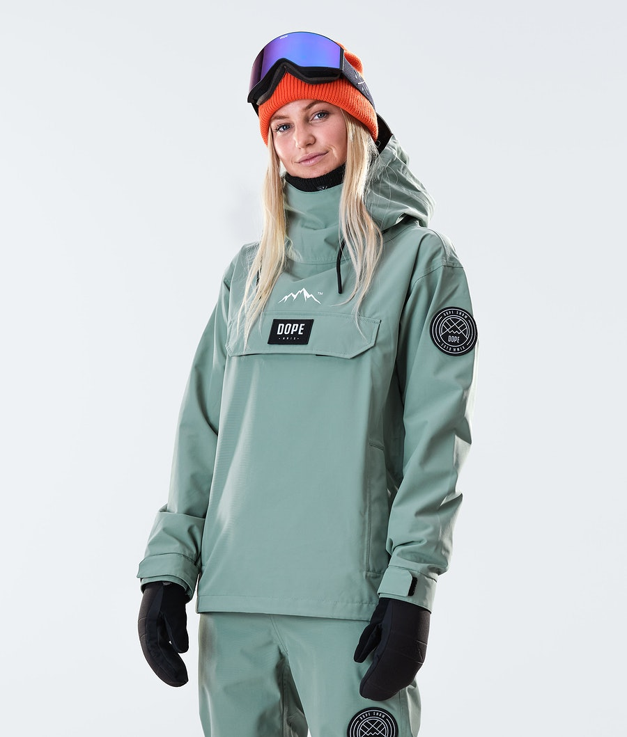 Dope Blizzard PO W Women's Snowboard Jacket Faded Green