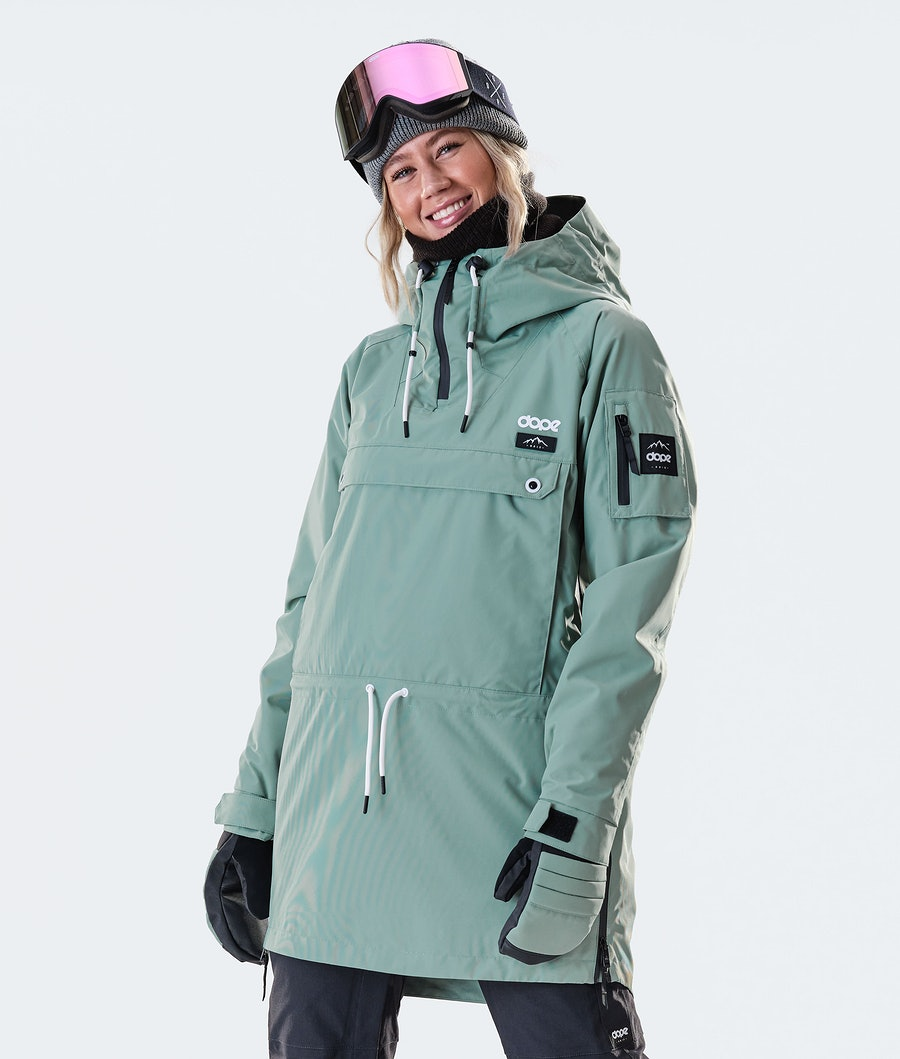 Annok Long Snowboard Jacket Women Faded Green