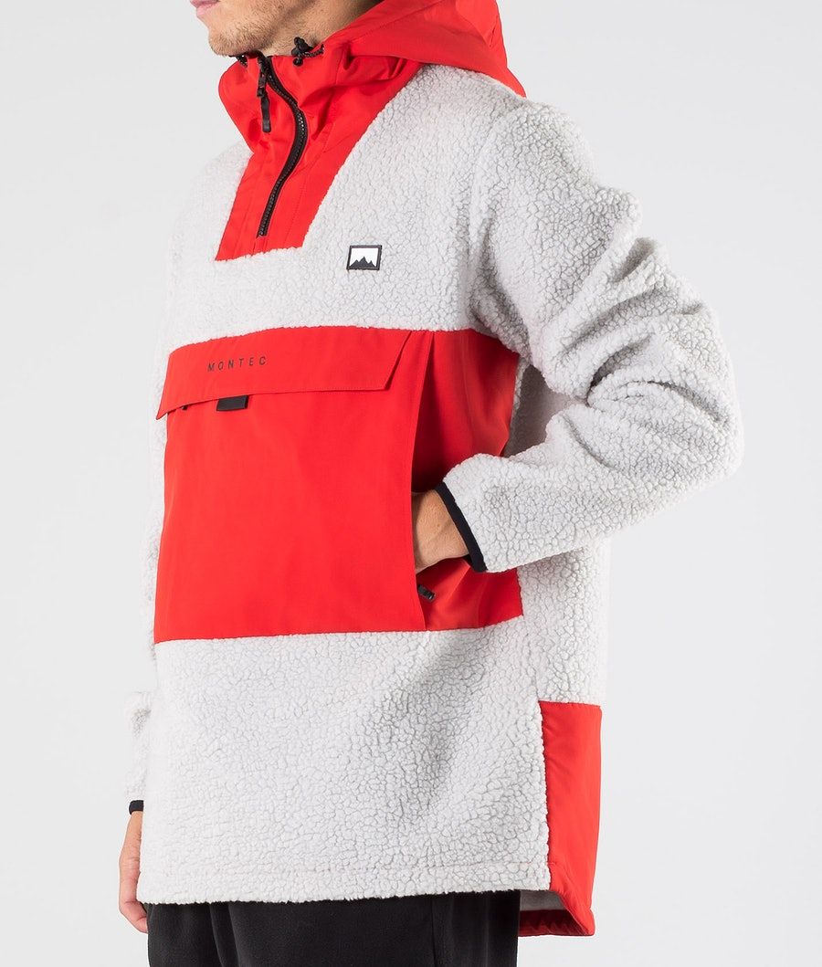 Montec Lima Fleece Hoodie Red/Light Grey
