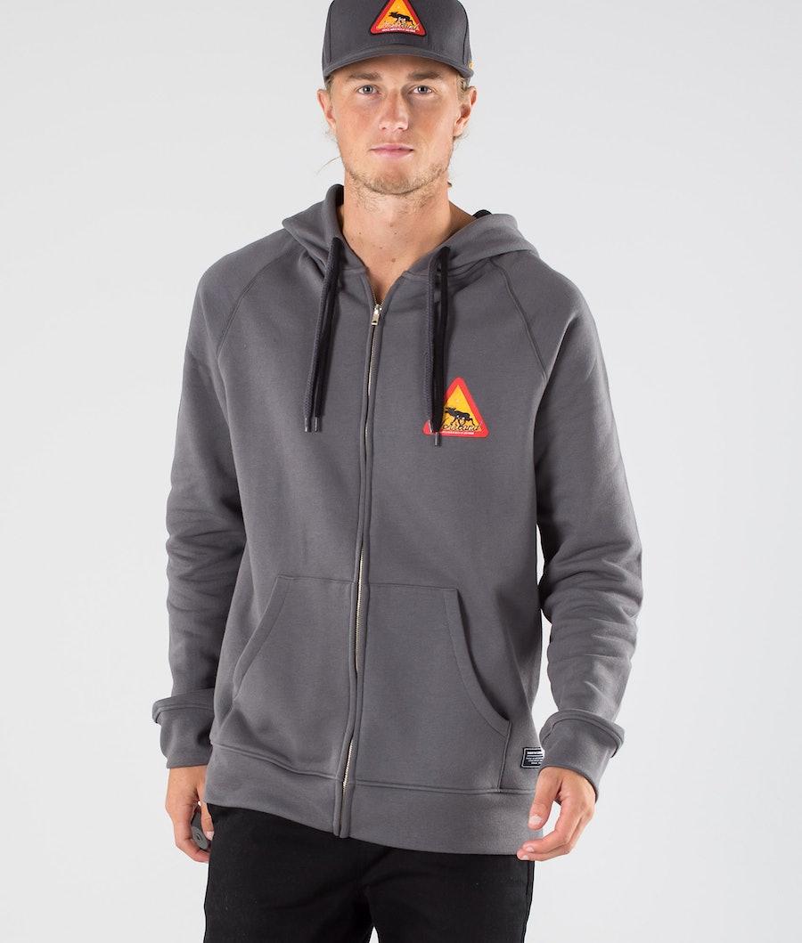 SQRTN Warning Zip Hood Dark Grey