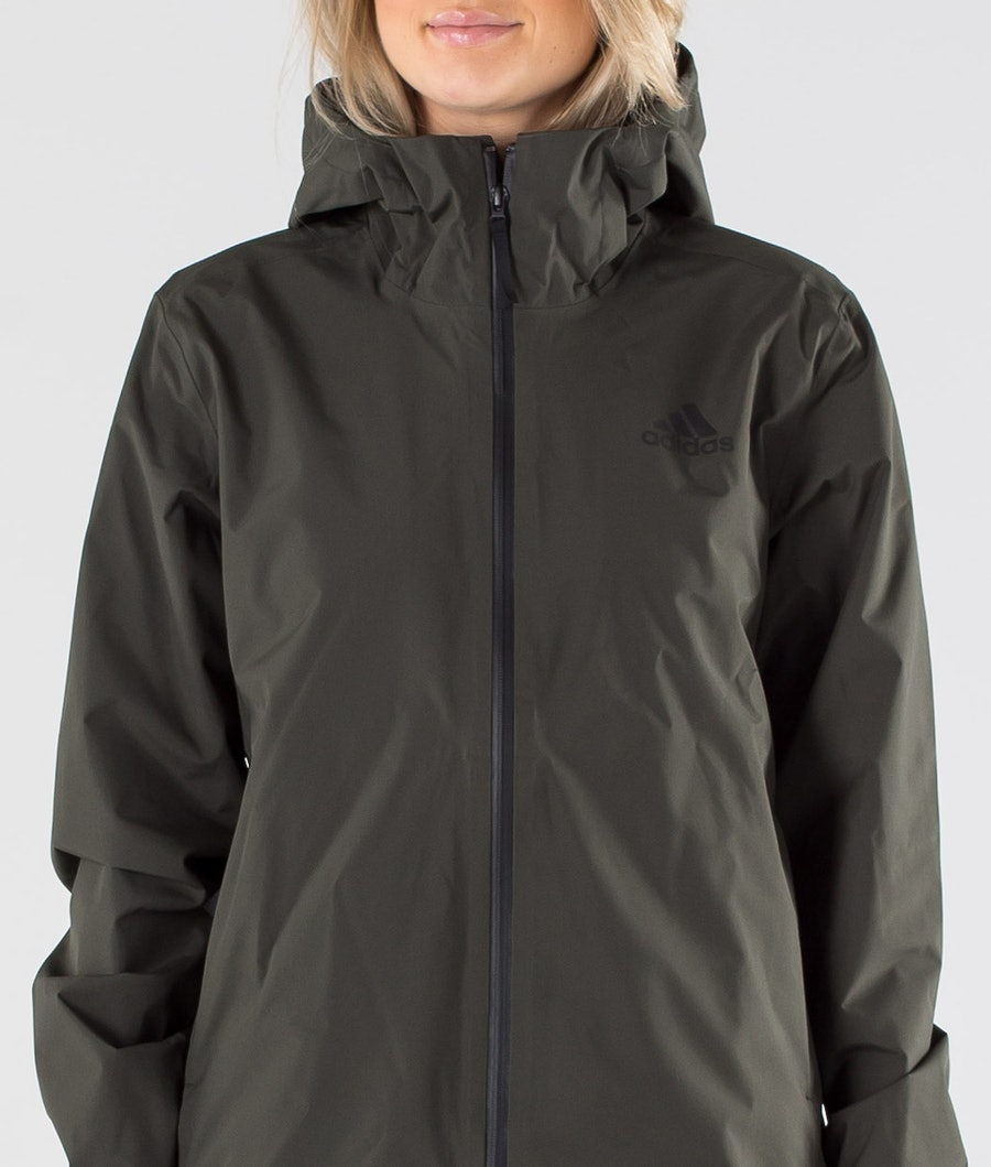 Adidas Terrex BSC 3 Stripes Rain Ready Women's Jacket Legend Earth