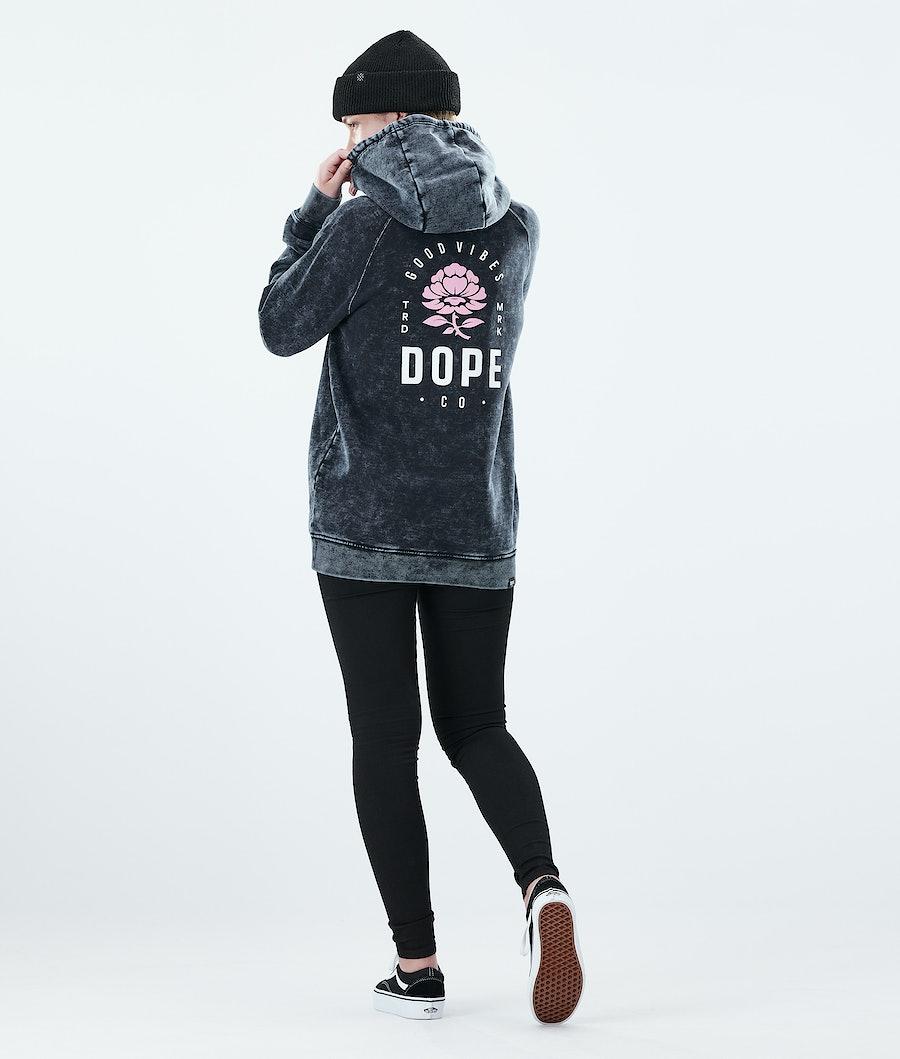 Dope Regular Rose Hoodie Damen Bleached Black