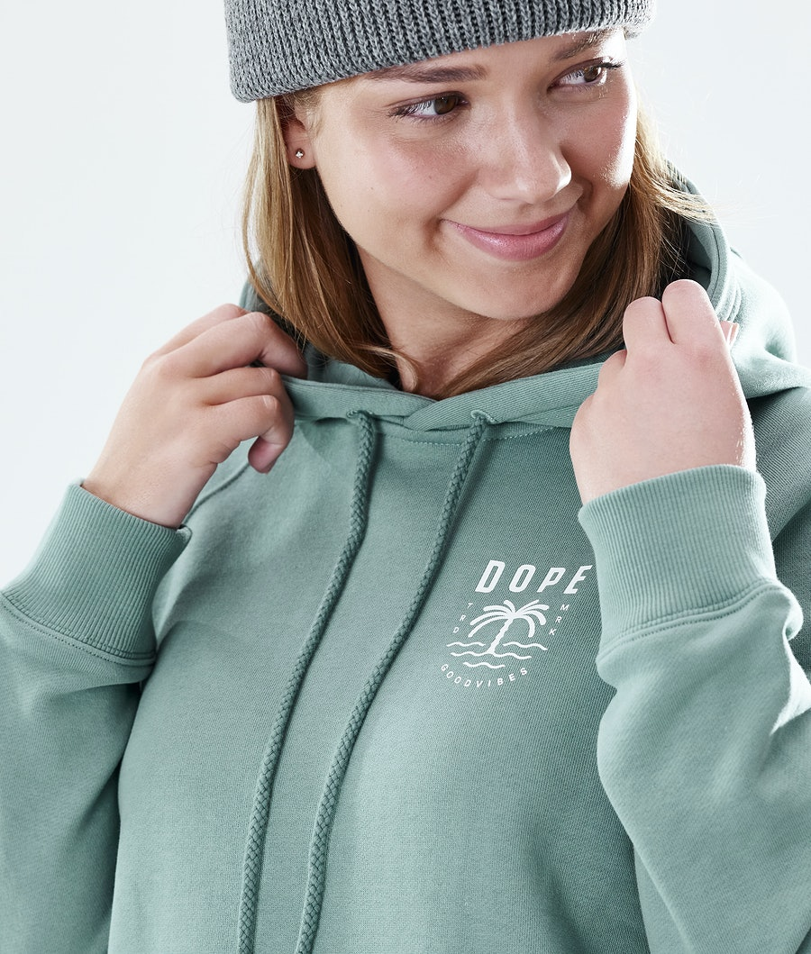 Dope Regular Palm Hoodie Damen Faded Green