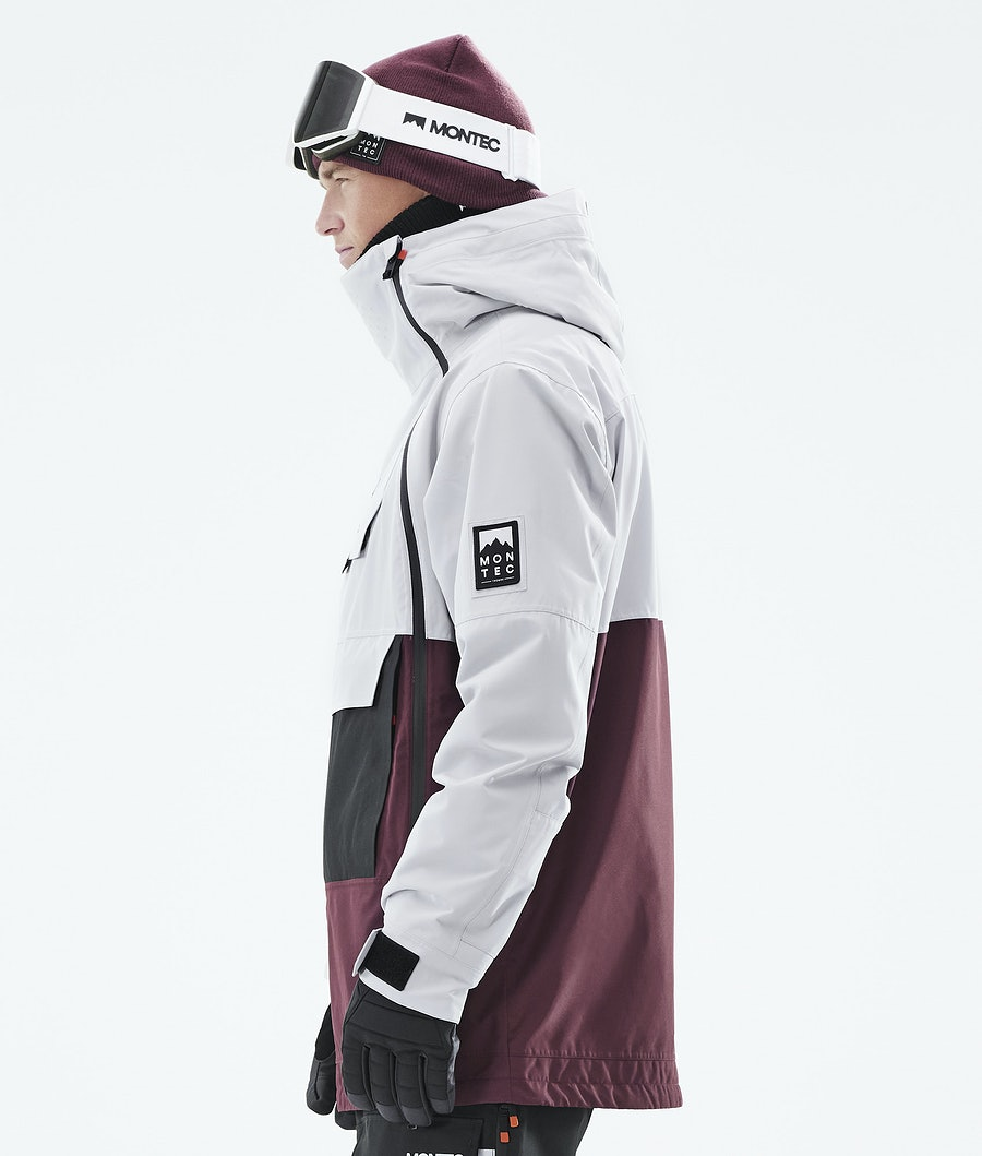 Montec Doom Ski Jacket Light Grey/Black/Burgundy