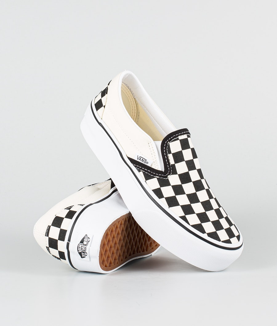 Vans Ua Classic Slip-On Platform Schoenen Black/White Checkerboard/White