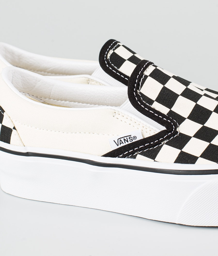 Vans Ua Classic Slip-On Platform Women's Shoes Black/White Checkerboard/White