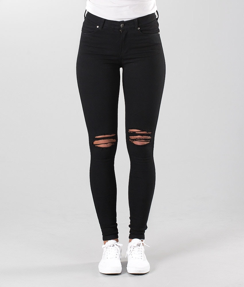 Dr Denim Lexy Pantaloni Donna Black Ripped Knees