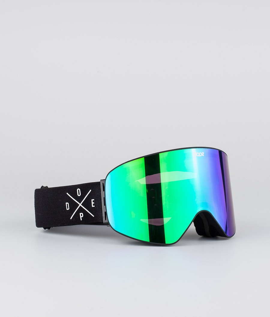 Dope Flush 2X-UP Women's Ski Goggle Black W/Black Green Mirror