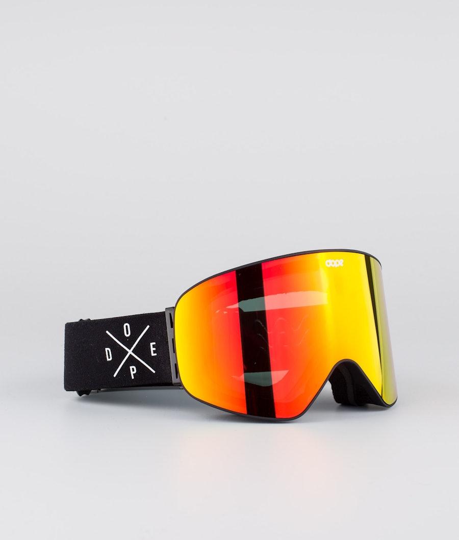 Dope Flush 2X-UP Ski Goggle Black W/Black Red Mirror
