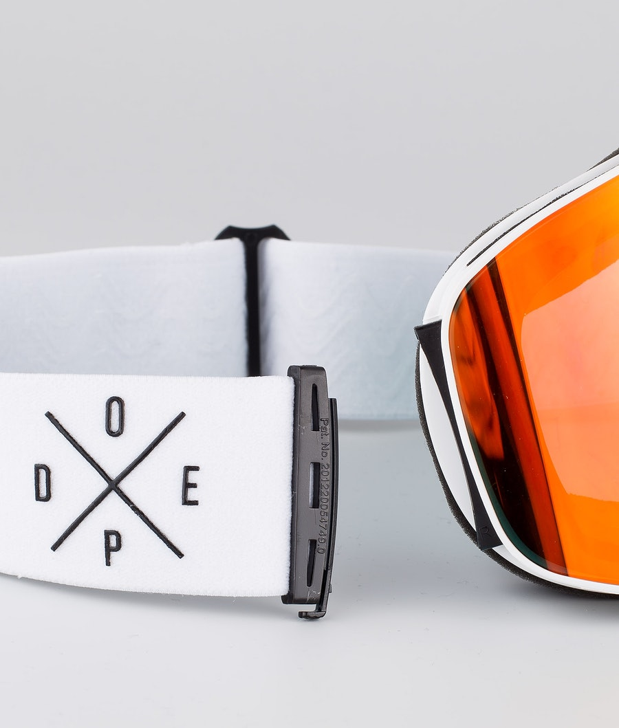 Dope Flush 2X-UP Skidglasögon White W/White Red Mirror