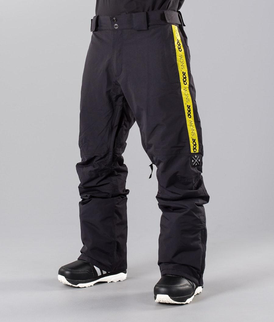 Dope Hoax II 18 Pantaloni da snowboard Almost Black Yellow Stripe