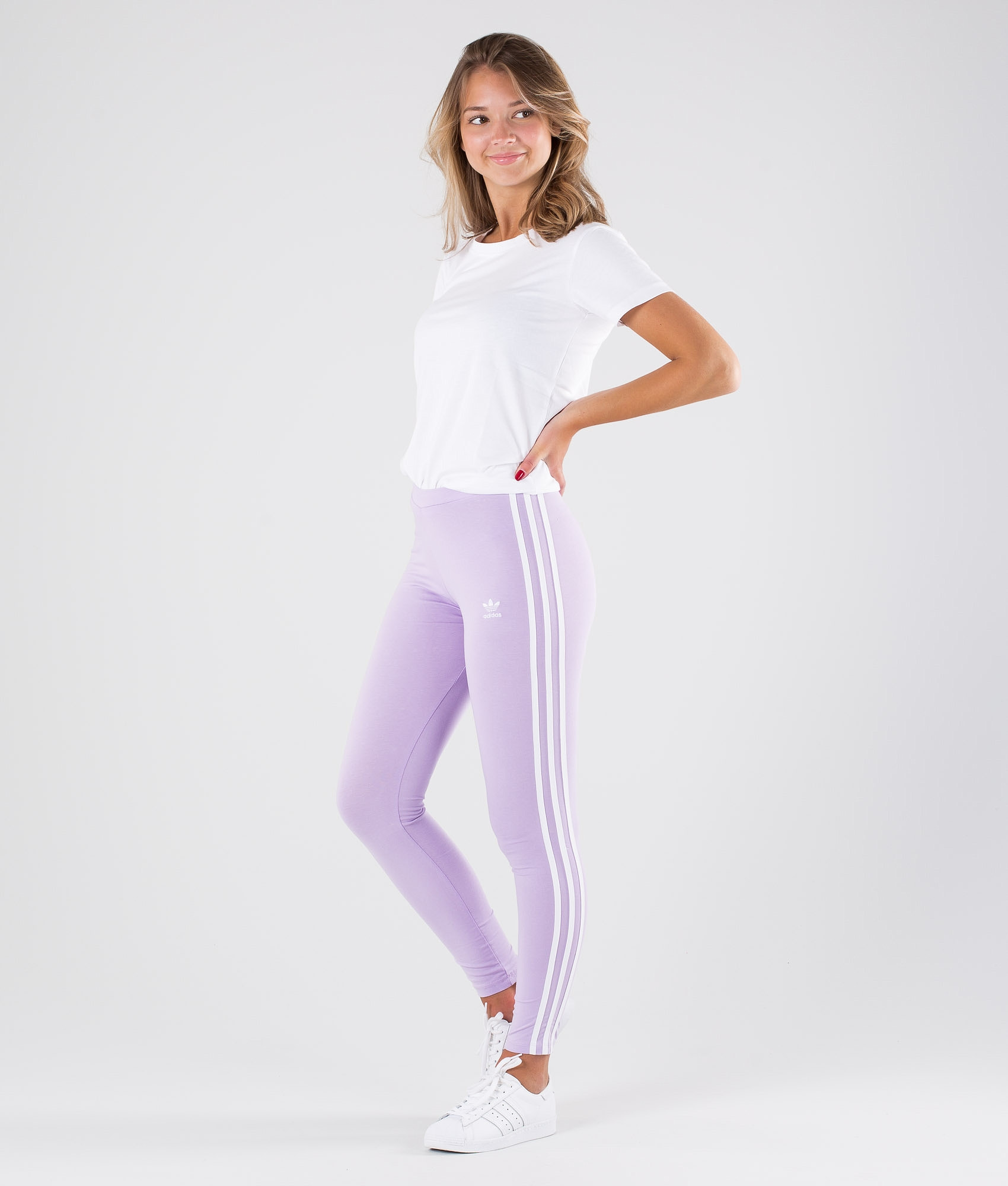 f4d2d064f710c Adidas Originals 3 Stripes Leggings Purple Glow - Ridestore.com