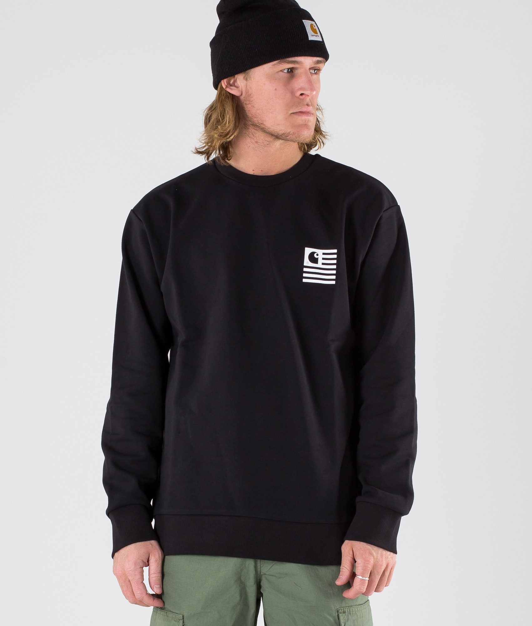 aee755bc Carhartt State Patch Sweat Sweater Black - Ridestore.com