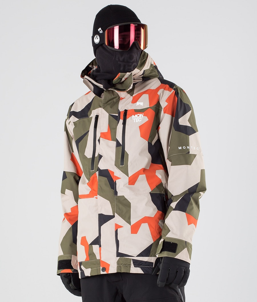 Montec Fawk Snowboard Jacket Orange Green Camo
