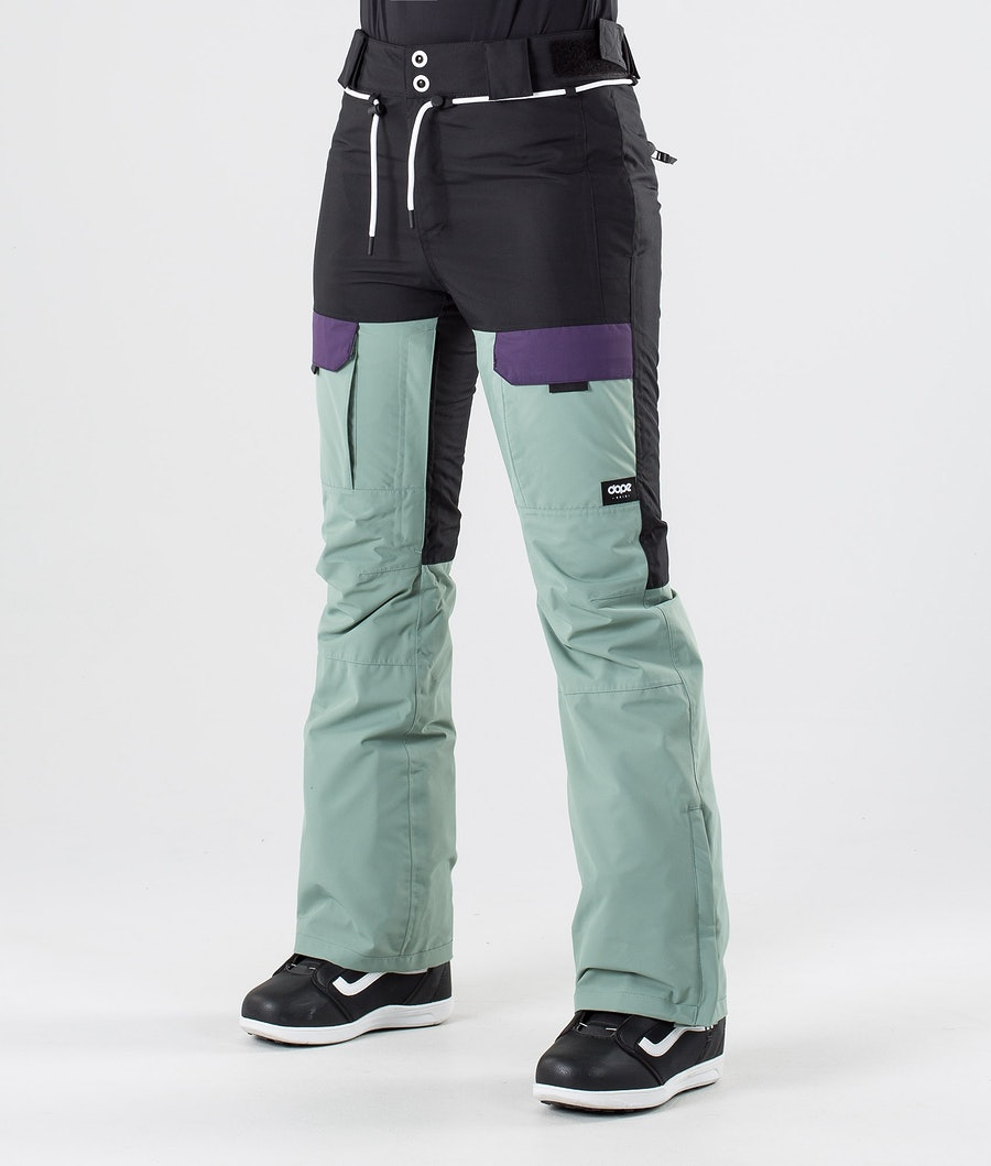 Dope Grace Snow Pants Black Grape Faded Green