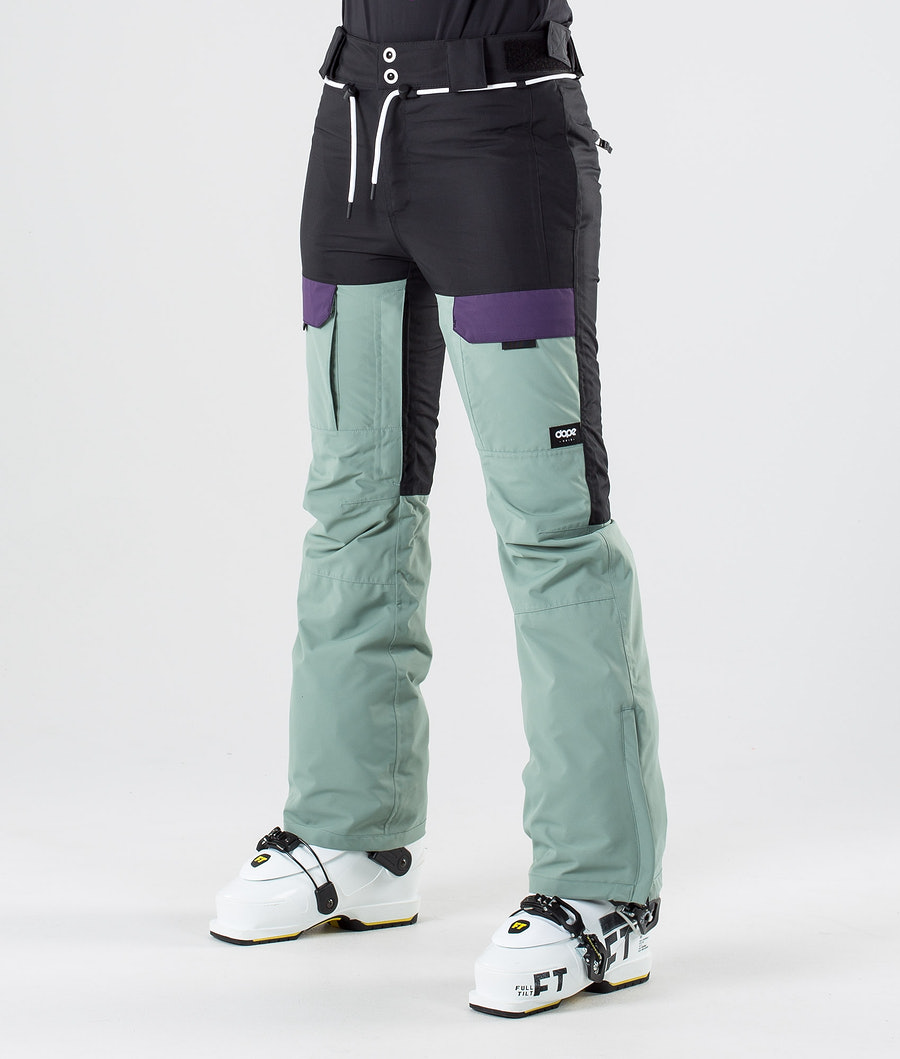 Dope Grace Ski Pants Black Grape Faded Green