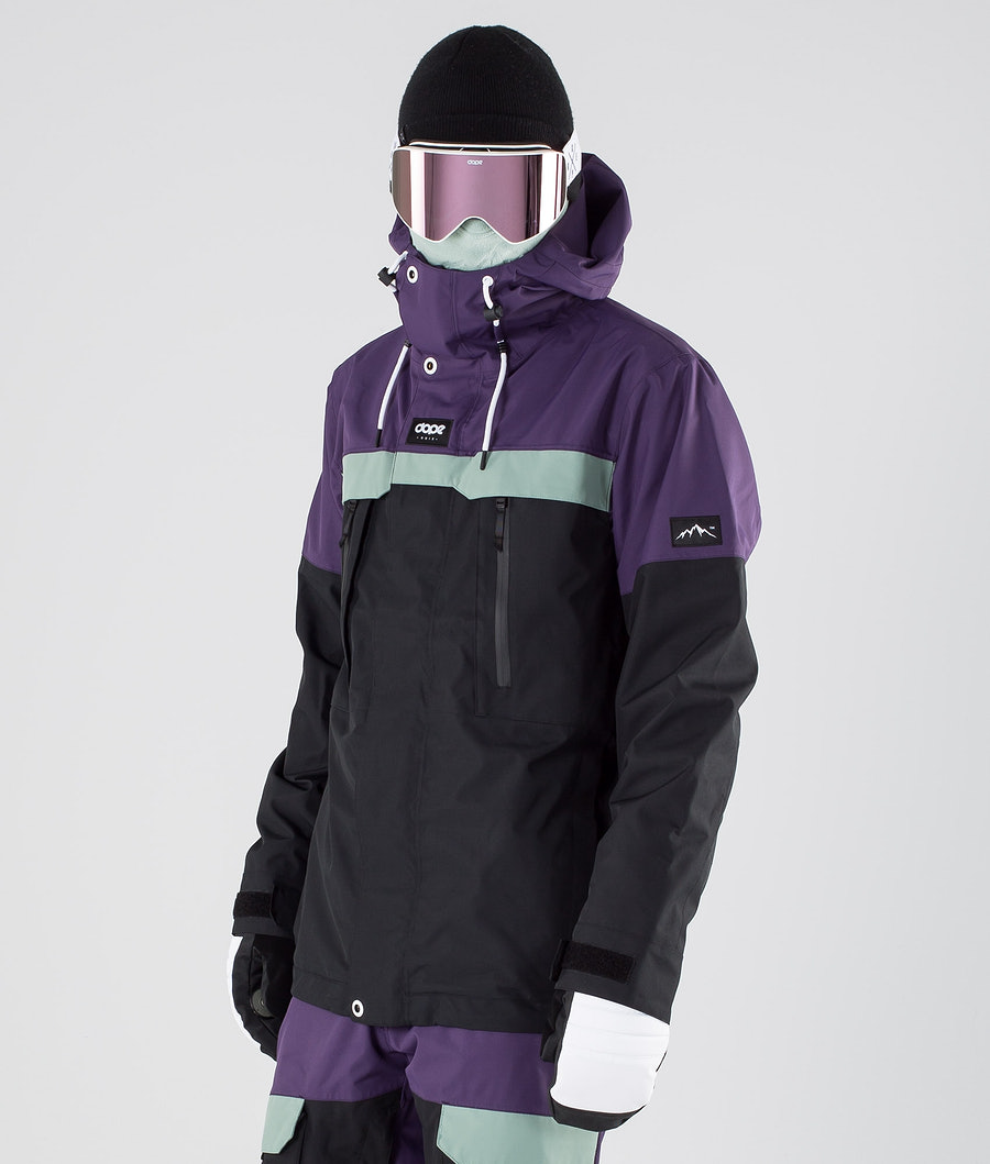 Dope Lunar Ski Jacket Grape Faded Green Black