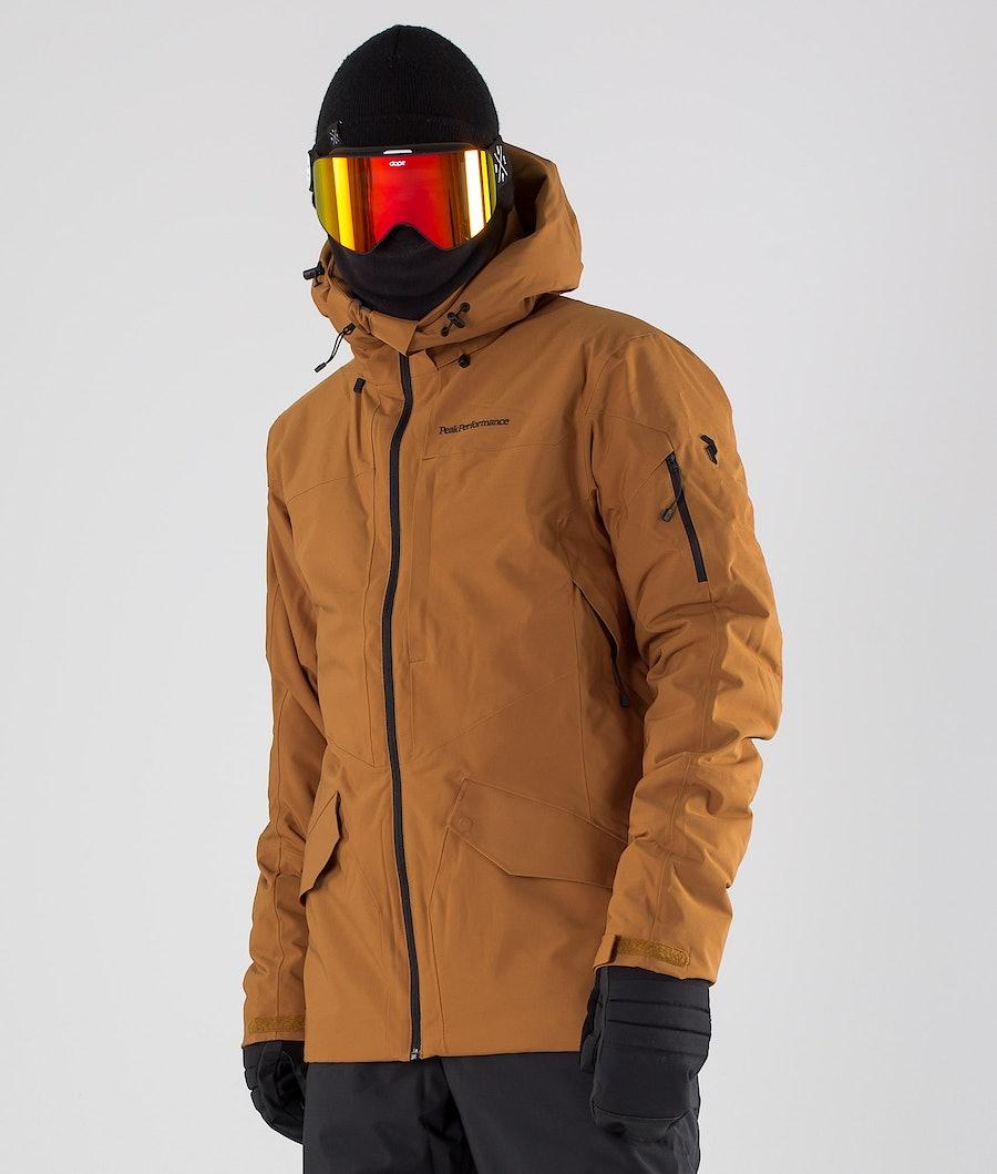 Peak Performance Maroon Long Ski Jacket Honey Brown
