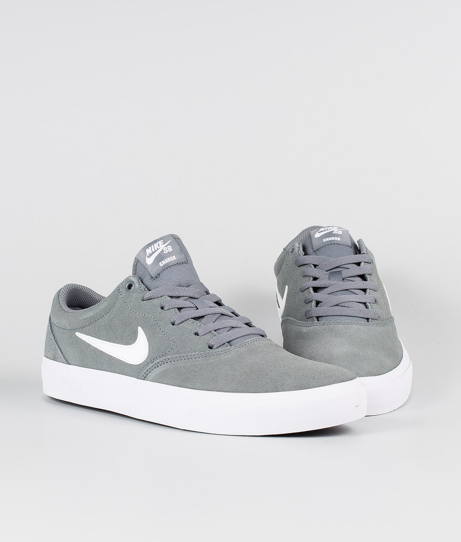 Nike SB Charge Suede Skor Cool Grey/White Cool Grey White