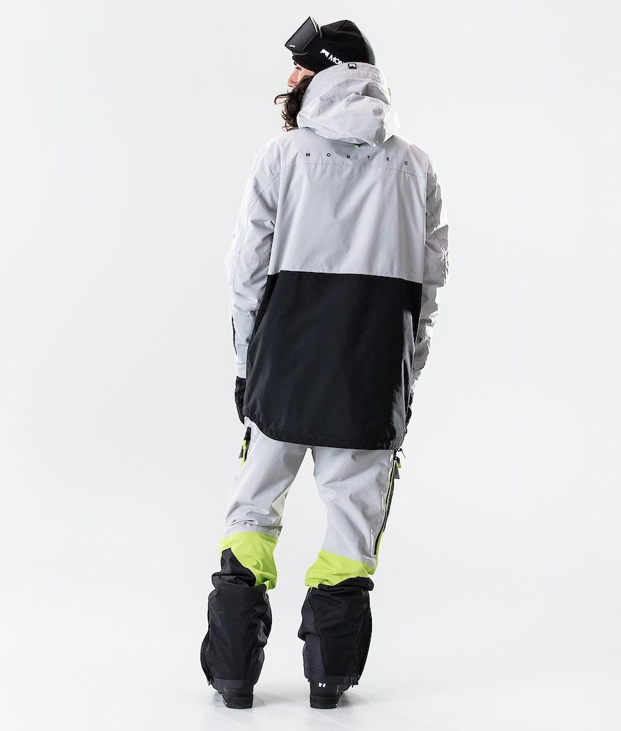 Montec Dune Skijakke Light Grey/Neon Yellow/Black