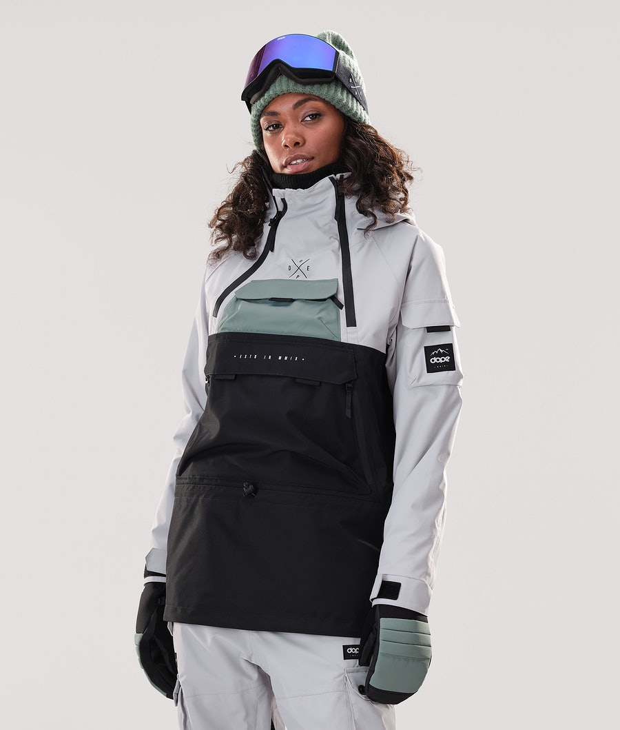 Dope Akin W Skijacke Light Grey/Faded Green/Black