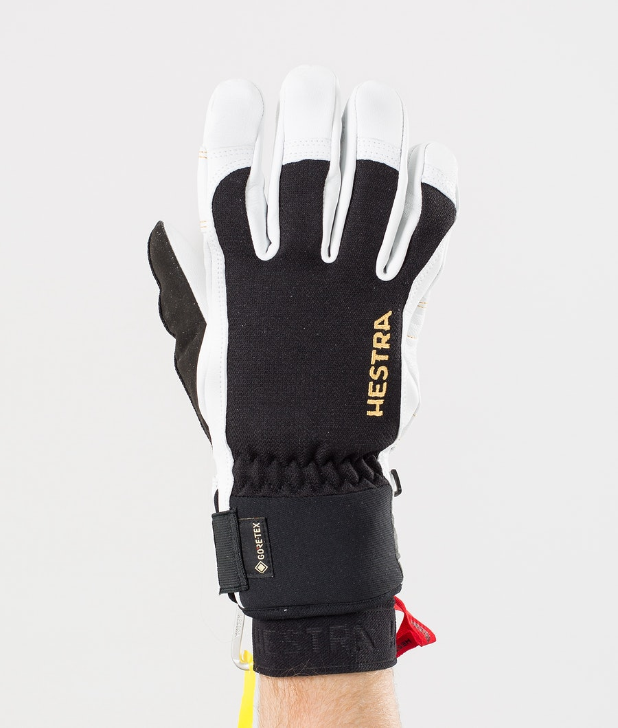 Hestra Army Leather Gore-Tex Short 5 Finger Ski Gloves Black/Off White